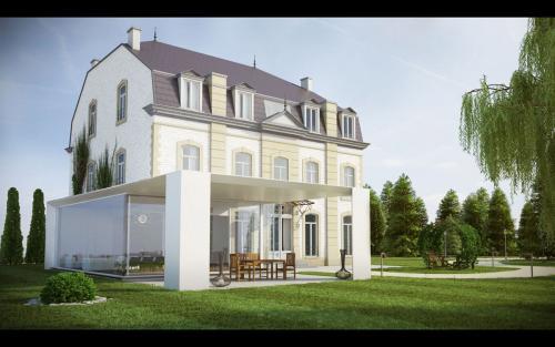 Maison maitre-véranda blanche
